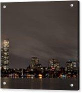 Misty Night On The Charles River Boston Ma Acrylic Print