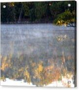 Dark Shoreline Frames Misty Fall Reflections On Jamaica Pond Acrylic Print