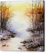 Misty Winter Stream Acrylic Print