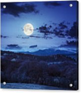 Mixed Forest Near Valley In Mountains  On Hillside At Night Acrylic Print