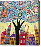 Mixed Media Collage Tree And Houses Acrylic Print