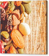 Mixed Nuts On Wooden Background Acrylic Print