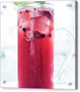 Mixed Red Berries And Wine Sangria Cocktail Jug Acrylic Print