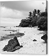 Moalboal Cebu White Sand Beach In Black And White Acrylic Print