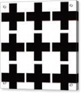 Mod Black And White Swiss Cross Mid Century Modern Design Acrylic Print