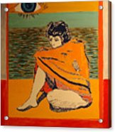 Model with blanket colored Acrylic Print