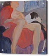 Model With Dog Acrylic Print