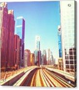 Modern Architecture Of Dubai Seen From A Metro Car. Acrylic Print