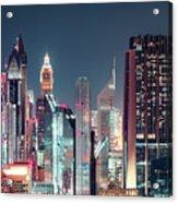 Modern City Architecture By Night. Dubai. Acrylic Print