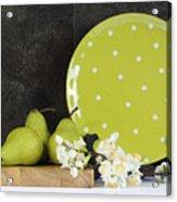 Modern Green And White Polka Dot Kitchen Acrylic Print