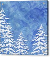 Modern Watercolor Winter Abstract - Snowy Trees Acrylic Print