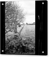 modern window looking out onto rural fields in the lake district Cumbria England UK Acrylic Print