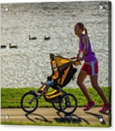 Moher And Child Jogging Acrylic Print