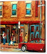 Moishes Steakhouse On The Main By Montreal Streetscene Painter Carole  Spandau  Acrylic Print