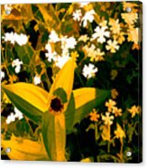 Molten Gold Flowers Acrylic Print