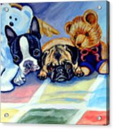 Mom Can She Stay Over - Pug And Boston Terrier Acrylic Print by Lyn Cook