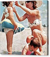 Mom With Girls At Beach Acrylic Print