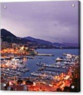 Monaco Harbor At Night Acrylic Print by Matt Tilghman