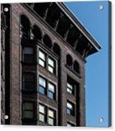 Monadnock Building Cornice Chicago B W Acrylic Print