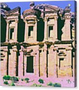 Monastery At Petra Acrylic Print by Dominic Piperata