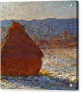 Monet Claude Haystack Snow Effect  Cat Acrylic Print