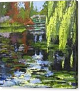 Monets Garden Painting Palette Knife Acrylic Print