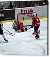 Mongolia Team Players Defend Goal Vs Malaysia In Ice Hockey Match In Rink Bangkok Thailand Acrylic Print