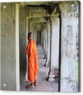 Monk Among The Ruins At Angkor Wat, Cambodia Acrylic Print