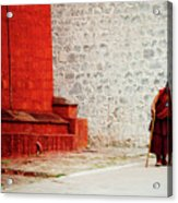Monk In Tashilhunpo Monastery Shigatse Tibet Yantra.lv Acrylic Print