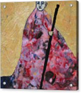 Monk With Walking Stick Acrylic Print