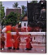 Monks At Luang Prabang Laos Acrylic Print