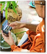 Monks Blessing Buddhist Wedding Ring Ceremony In Cambodia Asia Acrylic Print