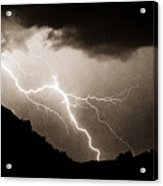 Mono Tone Lightning Striking The Ridge Acrylic Print