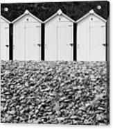Monochrome Beach Huts Acrylic Print
