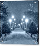 Monochrome Blue Nights Boston Public Garden Snow Storm Ma Massachusetts Bridge Lights Acrylic Print
