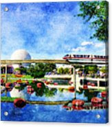 Monorail Red - Coming 'round The Bend Acrylic Print