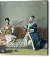 Monsieur Levett And Mademoiselle Helene Glavany In Turkish Costumes Acrylic Print by Jean Etienne Liotard
