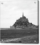 Mont Saint Michel Black And White Acrylic Print
