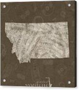 Montana Map Music Notes 3 Acrylic Print