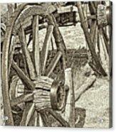 Montana Old Wagon Wheels In Sepia Acrylic Print