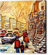 Montreal City Scene In Winter Acrylic Print