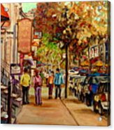 Montreal Downtown  Crescent Street Couples Walking Near Cafes And Rstaurants City Scenes Art    Acrylic Print