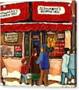 Montreal Hebrew Delicatessen Schwartzs By Montreal Streetscene Artist Carole Spandau Acrylic Print