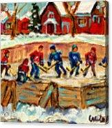 Montreal Hockey Rinks Urban Scene Acrylic Print by Carole Spandau