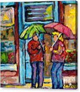 Montreal Rainy Day Paintings April Showers Umbrella Conversation At Wilensky's Deli C Spandau Quebec Acrylic Print