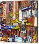 Montreal St.catherine Street Corner Peel Acrylic Print