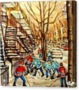 Montreal Street Hockey Paintings Acrylic Print