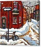 Montreal Street In Winter La Ville En Hiver Buy Montreal Paintings Petits Formats Peintures A Vendre Acrylic Print