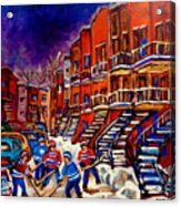 Montreal Street Scene Paintings Hockey On De Bullion Street   Acrylic Print