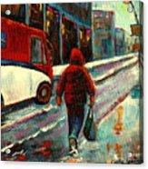 Montreal Streets Winter Morning Acrylic Print
